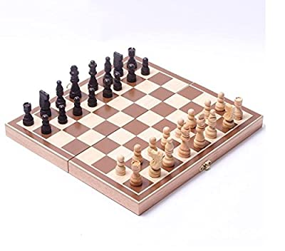 YY Goods 15-Inch Standard Travel Wooden Chess Board Set