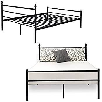 bed frame queen size vecelo metal platform mattress foundation box spring replacement with headboard