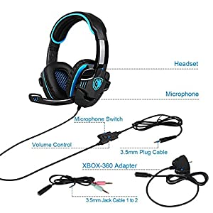 Updated PS4 Gaming Headphones,SADES SA708GT 3.5mm Jack Stereo Over Ear Computer Gaming Headset with Microphone for PC/Laptop/Mac/Ipod(Black and Blue)