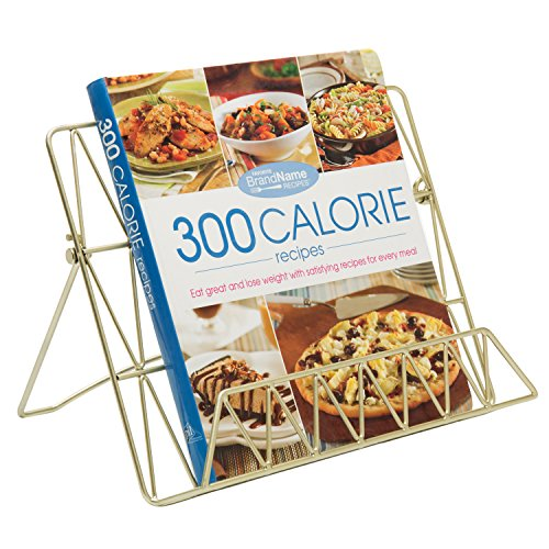 MyGift Modern Countertop Gold-Tone Metal Cookbook Stand, Support Stand for Books & Tablets
