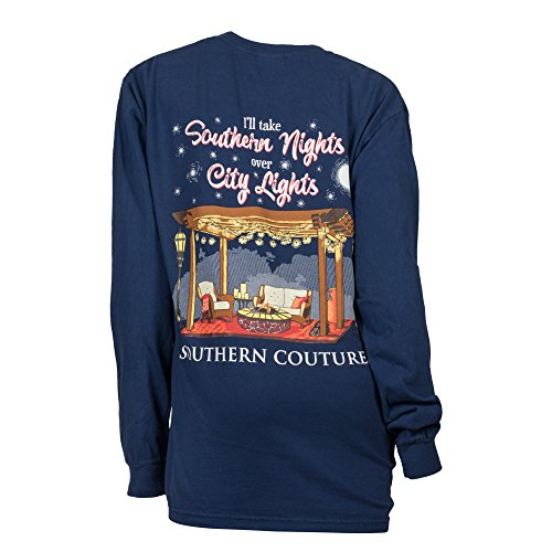 Southern Couture SC Comfort I'll Take Southern Nights Over City Lights on Long Sleeve Classic Fit Adult T-Shirt - True Navy, 2XL (Company Southern)