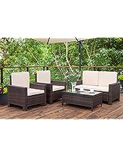 Homall 4 Pieces Outdoor Patio Furniture Sets Rattan Chair Wicker Conversation Sofa Set, Outdoor Indoor Backyard Porch Garden Poolside Balcony Use Furniture