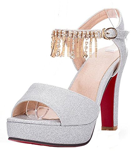 Easemax Womens Sexy Strass Frange Fibbia Cinturino Alla Caviglia Scarpe Da Sposa Piattaforma Grosso Sandali Tacco Alto Argento