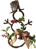 Cheap Grapevine Snowman Door Wreath Faux Red Berries Artificial Greens Burlap Bow Accented with Rusty Bell Holiday Winter Wreath