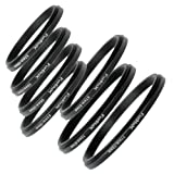 Fotodiox 7 Metal Step-Down Ring Set, Anodized Black Metal, 77-72mm, 72-67mm, 67-62mm, 62-58mm, 58-55mm, 55-52mm, 52-49mm