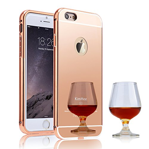 iPhone 6 case,iPhone 6S case, KimHee [Hybrid Fashion Cover Mirror] Ultra Thin Detachable Metal Frame Bumper +...