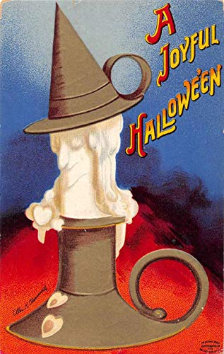 Halloween Greetings Candlestick Witch Face Signed Clapsaddle Postcard AA203
