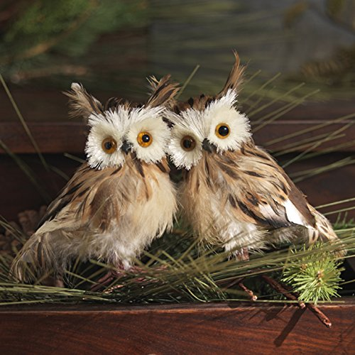 christmas feathered owl bird figure 5 tall set of 2 - Animal Christmas Decorations