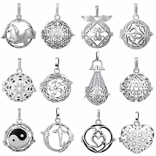 [12pcs New Special offer Eudora Angel Caller Silver Plated Lockets Pendant for 20mm Chime Ball] (Angel Locket)