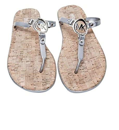 Michael Kors MK Charm Jelly Cork Flip Flop (9 M, Silver)