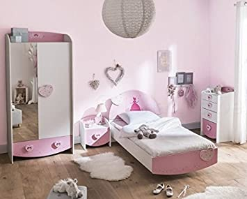 Amazon De Kinderzimmer Lotte 4 Tlg Weiss Rosa Bett Kommode