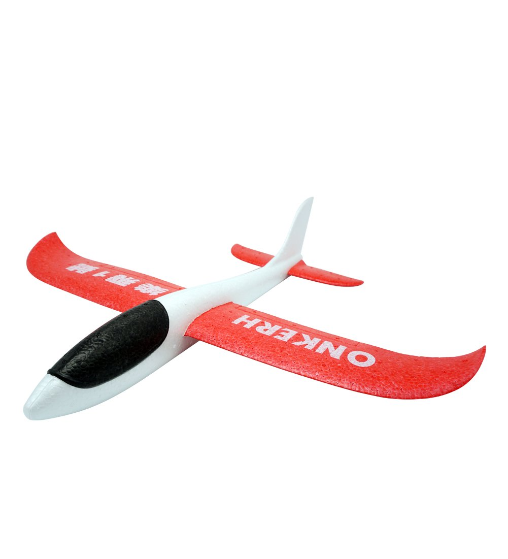 THREE EYES Environmental EPP Foam Glider Airplane 48cm Big Hand Throwing Plane Inertia Launch Roundabout Foam Trick Airplane Toys Funny Outdoor Playground Toys 18.9 inch (White Red)