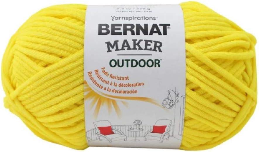 Bernat Maker Outdoor Yarn, 8.8 Oz, Gauge #5 Bulky, Sunshine Yellow
