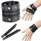DDLBiz Leather Bracelet Exaggerated Punk Rivet Wide Leather Wrist Corns (Black)