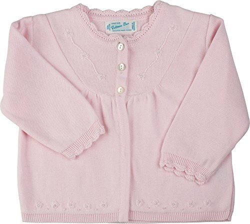 Infant Girls Pink Dressy Cardigan Sweater with Pearls (6M)