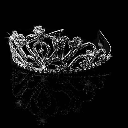 Bridal Tiara Silver Party Crown Decor Headband  Rhinestone Veil Prom Wedding