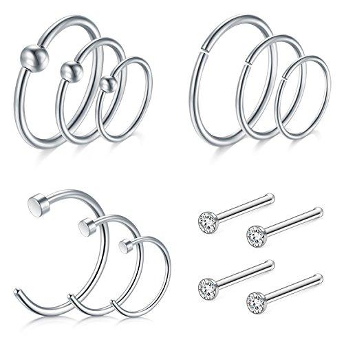 D.Bella Nose Hoop 8mm 10mm 12mm, Nose Rings Hoop 16 Gauge Septum Rings Hoop for Lip Nose Helix Cartilage Piercing Rings