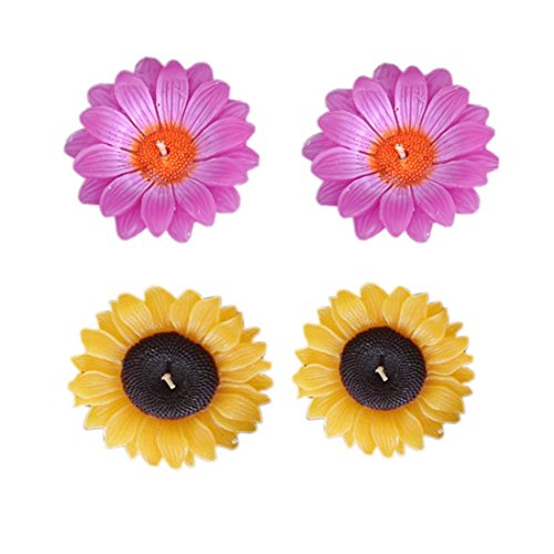 4 PCS DECORATIVE SUNFLOWER FLOATING WAX CANDLE PREMIUM QUALITY HOME DECOR SPA OFFICE WHOLSALE PRICE