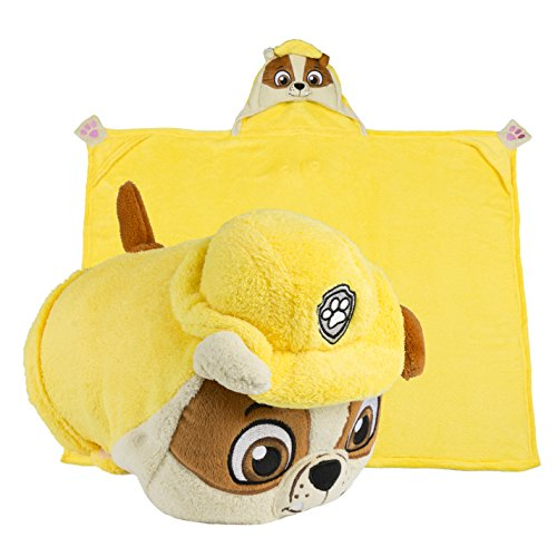 Comfy Critters Paw Patrol Cartoon Character Hooded Blanket that Folds into a Pillow, Rubble (Female Cartoon Characters Names)