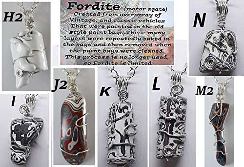 Fordite pendants necklace jewelry Detroit Motor agate recycled paint wire wrapped unisex (Pendant Riverstone)