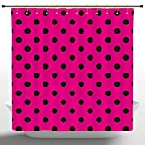 Hot Pink and Black Shower Curtain Durable Shower Curtain by iPrint,Hot Pink,Pop Art Inspired Design Retro Pattern of Black Polka Dots Classical Spotted,Hot Pink Black,Decorative Shower Curtain Ideas