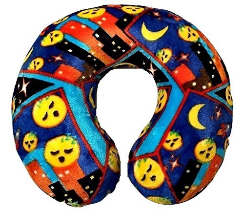 Old Navy Dragon Costume (Emoji Faces Round Velvet Memory Foam U Shaped Travel Pillow Neck Support Head Rest Cushion Kids Plush Soft Toy Toddlers Teens Emojies Expressions Navy)