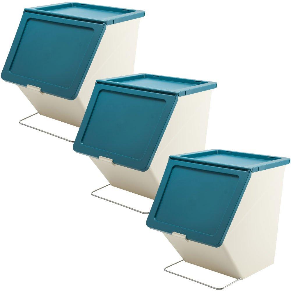 スタックストー ペリカン ガービー 38L 全6色の中から選べる3個セット ゴミ箱 ごみ箱 ダストボックス おしゃれ ふた付き stacksto pelican (ブルー×ブルー×ブルー) B0759FT2TV ブルー×ブルー×ブルー ブルー×ブルー×ブルー