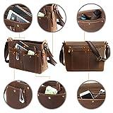 Leathario Mens Leather Briefcase Crossbody Bag