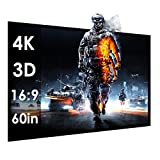60 Inches Portable Screen HD Folded Indoor Outdoor Screen Movies TV Games Portable Home Cinema Projector Projection Screen PVC Fabric Matte White16:9 Curtain