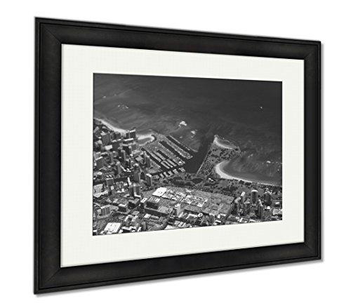 Ashley Framed Prints Waikiki Ala Wai Canal Ala Moana Mall Park And Ocean, Office/Home/Kitchen Decor, Black/White, 30x35 (frame size), Black Frame, - Malls Waikiki