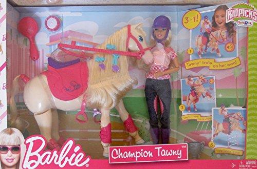 BARBIE Doll & CHAMPION TAWNY Trotting HORSE Play Set w BARBIE DOLL, HORSE, SADDLE & More! TOYS