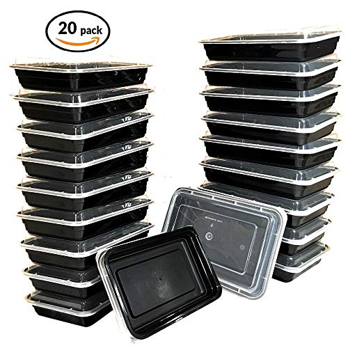 Food Prep Containers BPA Free with Lids by CJP Delivers | 28 Ounces | 20 Pack Food Prep Containers Set | Airtight Seal | Freezer, Dishwasher, Microwave Safe | Reusable Meal Prep Containers