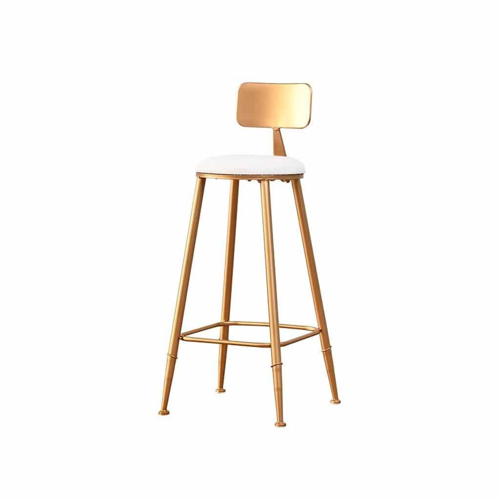 メタルバースツール朝食チェアチェアキッチンバックレストフットレストカウンターフロントデスクスツールシンプルなモダンなダイニングテーブル北欧ロード120Kg(カラー:ゴールデン)(座る高さ65cm、75cm) (サイズ さいず : 65cm) B07F6FNY5S65cm