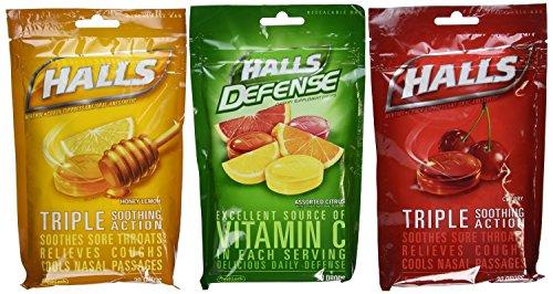 Halls Cough Drops 3 Pack - 1 Cherry, 1 Honey Lemon, 1 Assorted (Cough Drop Cherry Honey)