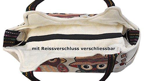 Magnifica borsetta importata da Tailandia, multicolore, motivi Gufi (42230)