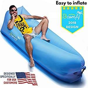 Inflatable Lounger by Bcomfy | Inflatable Couch, Lazy Bag Air Lounger | With Carry Bag, Pegs, Pockets, Bottle Opener - Air Bag For Indoor and Outdoor, Pool, Camping, Traveling, Hiking | Sale 75% Off