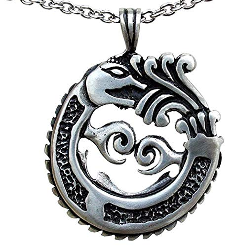 OhDeal4U Aztec Mayan Ouroboros Dragon quetzalcoatl Pewter Pendant Charm Amulet Necklace (Stainless Steel Chain)