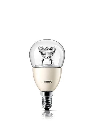 Philips Lustre Bombilla LED esférica transparente E14, 3 W, Translúcido y blanco
