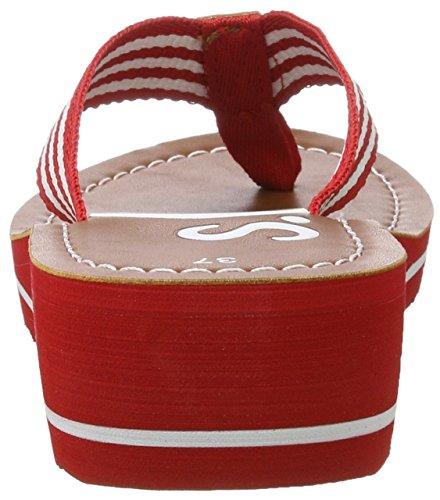 s.Oliver 27118, Sandalias para Mujer Rojo (RED/WHITE 521)