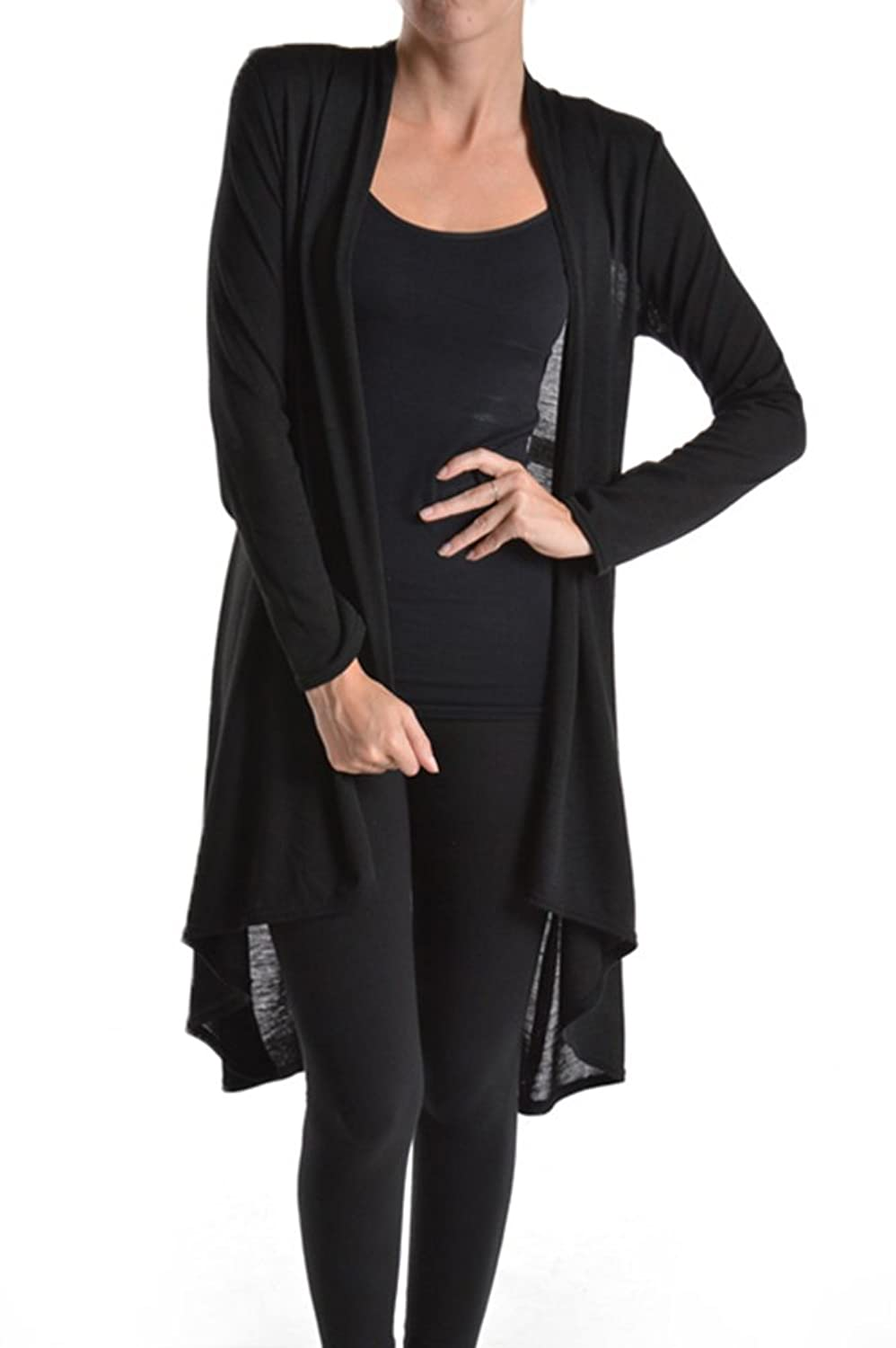 A.S Solid Hacci Sweater Knit Jersey Draped Open Front Long Sleeve ...