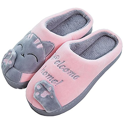 Antiscivolo Indoor Casa Donna Scrape Slippers Cartoon Peluche Cotone Pantofole Rosa 711wqZ