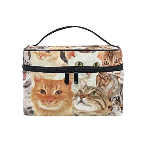 KUWT Animal Cat Women Travel Makeup Bag Portable Cosmetic Train Case Toiletry Bag Beauty Organizer