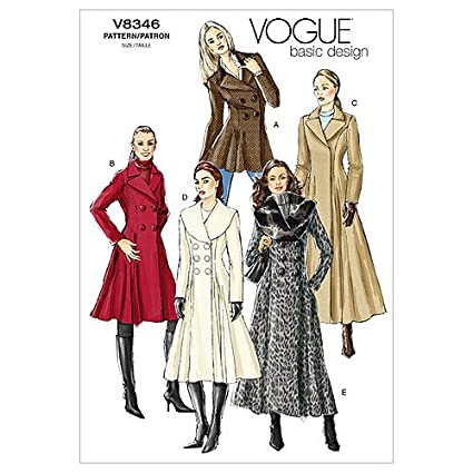 Amazon.com: Vogue Patterns V8346 Misses\' Coat, Size D (12-14-16 ...