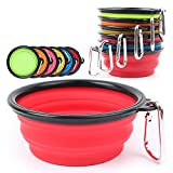 S-Lifeeling Fashion Collapsible Dog Bowl Food Grade Silicone BPA Free FDA Approved pet bowl Foldable Expandable Cup Dish for Pet Cat Food Water Feeding Portable Travel Bowl Free Carabiner dog bowl