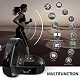 BIGFOX Smart Bracelet Touch Screen ID 115 Wristband Bluetooth Fitness Tracker IP67 Waterproof Smart Bands with Activity Tracker for iPhone Android Smartphone - Black