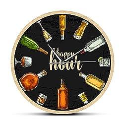 CXKLJ Happy Hour Wine Time Wine Booze Wall Clock Man Cave Pub Bar Wall Decor Restaurant Wine Drinker Alcohol Gifts Winery Art