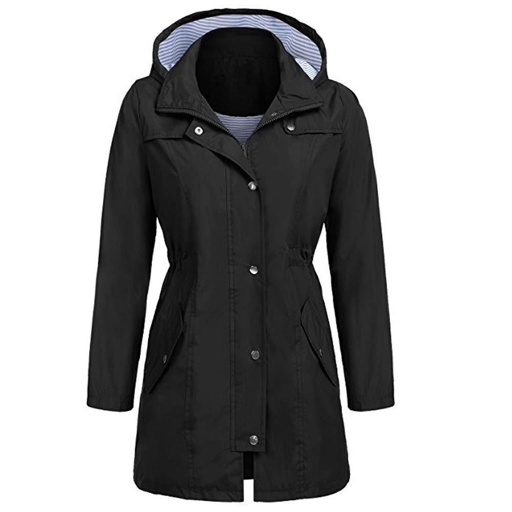 Outdoor Raincoat, Womens Lightweight Waterproof Windbreaker Mid-Long Hooded Rain Jacket Slim Fit (Black, XL)