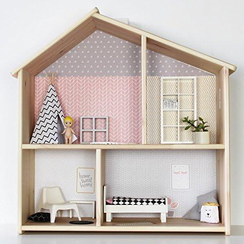 Limmaland Pegatinas para IKEA flisat Casa de Muñecas Lille stuba (Color Rosa/Gris) – Muebles No Incluye