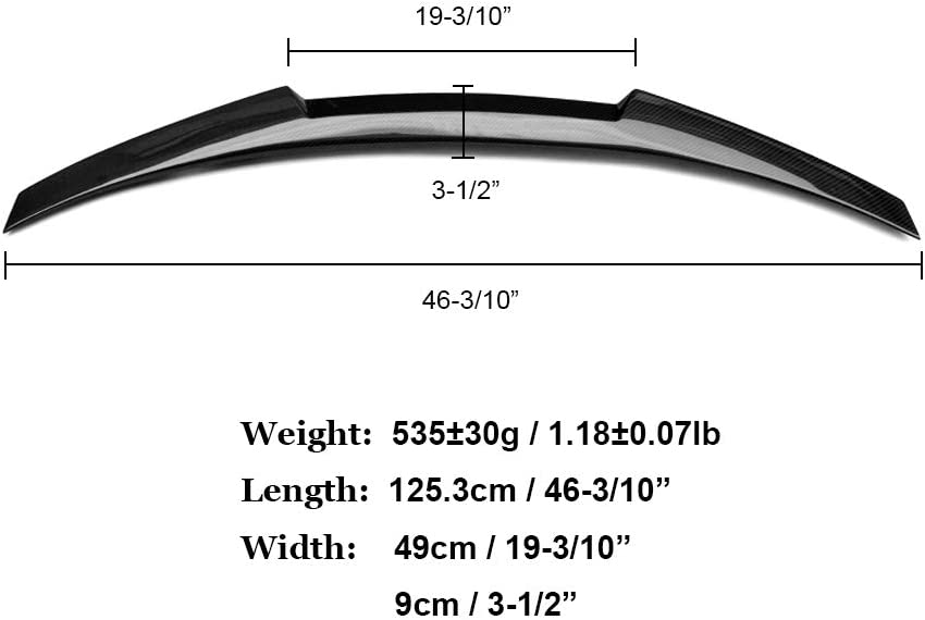 M4 Style Wing SNA Carbon Fiber Rear Trunk Lip Spoiler Compatible for 2010-2016 BMW 5 Series F10 and F10 M5