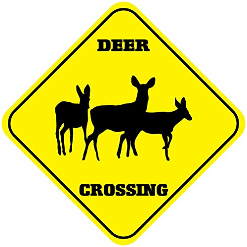 Deer Crossing Funny Metal Aluminum Novelty Sign (Deer Crossing Sign)